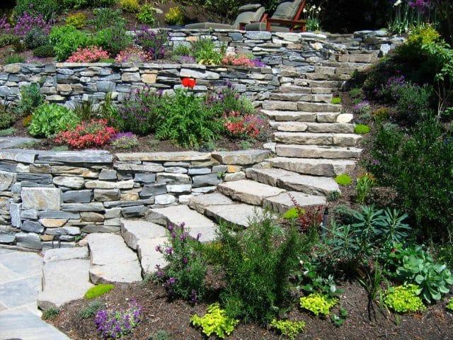 Альпинарий на опорной стене в вашем саду