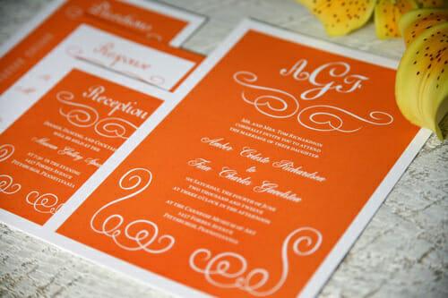 Приглашение на свадьбу с цветками апельсинного дерева