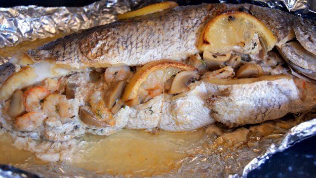 Запеченная рыба с тыквой